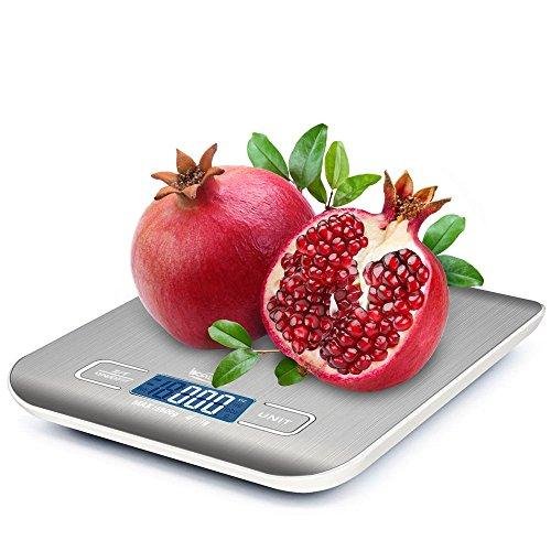 Digitale Küchenwaage, ikalula Professionelle Küchenwaage Edelstahl Design LCD-Display Küchenwaage 5kg Lebensmittelwaage für Küche und Haushalt (Inkl Batterie) - Sliber