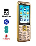 Gamma S11 Dual-Camera 2.8-Inch Big Screen SIM-Free Mobile Phone - 2200Mah Big Battery Long time Standby, Speed Dial, Dual-SIM GSM Quad-Bands Worldwide Mobile Phone with Bluetooth (Golden)