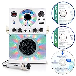 Singing Machine SML385 Karaoke Equipment with Bluetooth 1 Microphone and 36 Current Tracks, White
