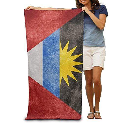 Large Beach Towels Bath Sheets Vintage Antigua and Barbuda Flag Beach Towels Premium Soft Eco-Friendly Printing Design Travel,Non-Toxic 31.5x51.2 inch(80x130cm)