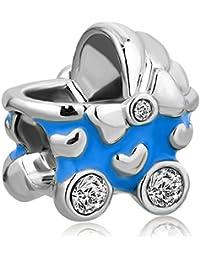 uniqueen Girl Baby Carriage de cristal CZ Cuentas Charms Venta barato Fit Pandora pulsera