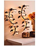 #10: Hosley Wall Sconces 40 cm Long with 8 Glass Cup Candle Holders and Bonus Tealight Candles, Set of 2