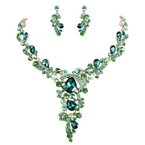 ckset Hochzeit Braut Kristall Blatt Vine Tropfen Hollow Statement Halskette Dangle Ohrringe Schmuck Set Smaragd-Farbe Gold-Ton ()