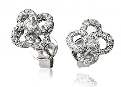 0.50CT Certified G/VS2 Round Brilliant Centre Flower Shape Diamond Stud Earrings in 18K White Gold