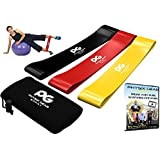 Resistance Loop Bands - Set of 3 Performance Elastic Bands for Workout or Physical Therapy - Free Ebook & Online Video Guide - Pilates, Yoga, Rehab, Improve Mobility and Strength - Life Time Warranty