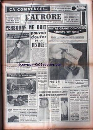 AURORE (L') du 24/01/1959 - LA JUSTICE - LE RALLYE DE MONTE-CARLO - VERS UNE CRISE POLITIQUE GRAVE EN ITALIE -JACQUES QARLOP ACQUITTE.