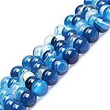 Sweet & Happy Girl's store 6mm Nature gebändert blau Achat Perlen Stränge 15 Zoll Schmuckherstellung Perlen