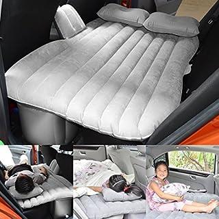 Auto Camping Aufblasbares mit Eingebauter Pumpe Bett Luftmatratze Kissen für Kinder Das Reisen with baffle(Grau)