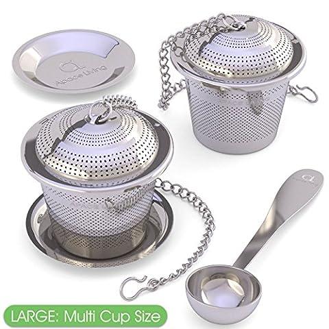 Grand infuseur pour thé en feuilles (lot de 2) avec soucoupe et cuillère à thé - Grande capacité et filtre ultra fin en acier inoxydable pour une infusion idéale