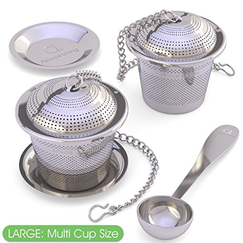 Großes Tee-Ei (2er Pack) mit Tee-Maßlöffel und Auffangschalen – Multi-Aufguss Tee-Sieb für losen Blatt-Tee aus rostfreiem Edelstahl für ein professionelles Tee Erlebnis