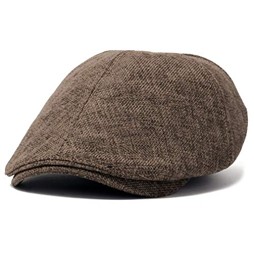 ililily Linen Flat Cap Cabbie Hat Gatsby Ivy Irish Hunting Newsboy Stretch (flatcap-531-11) (Ivy Hat)