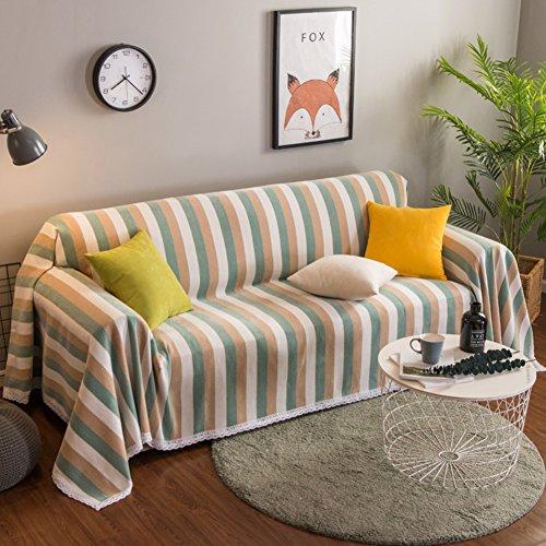 MAXWOW Gestreift Sofa Abdeckung Für Haustiere, 1-stück Dekorative Sofadecke Decke Sofaschutz Für 1,2,3,4 Kissen -Grün 180x380cm(71x150inch) (3 Stück Dekorative Kissen)