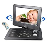 Mobiler DVD Player Auto, Tragbarer Kopfstützen Kinder HD CD DVD Player, with Game Controller and CD, 1024*600 Pixels Schwenkbaren Bildschirm, unterstützt SD-Karte und USB, Schwarz (7inch)