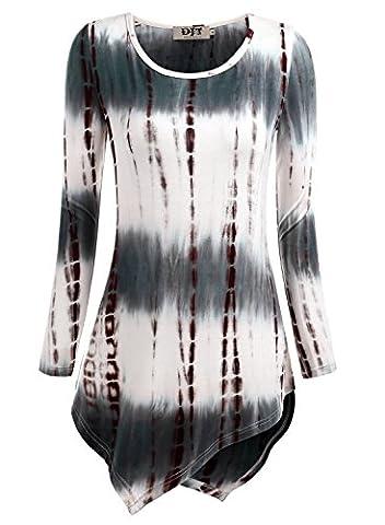 DJT Women Ladies Hanky Hem Tops Long Sleeve Slim Fitted Knit Tunic Tees Shirts Pullover Blouse Tie Dye Coffee - 17 Size XXL