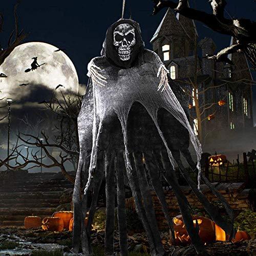 Halloween Dekoration Geister - OurWarm 5.5ft hängender Sensenmann, großer Halloween-Skelett-hängender