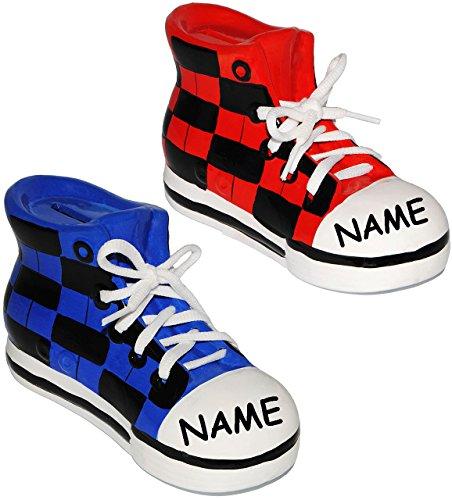 alles-meine.de GmbH 2 Stück _ Sparschweine -  Schuhe Sneaker / Sportschuh  - mit echten Schnürsenkel ! - stabile Sparbüchse aus Porzellan / Keramik - 3-D Effekt - für Kinder & .. - 3