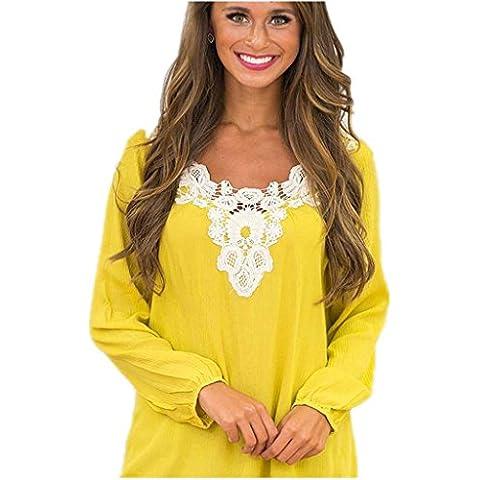 ZYQYJGF Tocando Fondo Camisa Amarillo Suelta La Camiseta Casual Cordón De La Gasa Club Noche Fiesta Profunda V Cuello De La Mujer . M