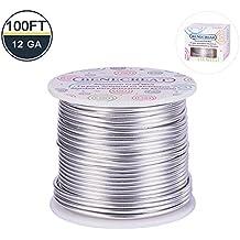BENECREAT 12 17 18 Fil d'aluminium de la jauge (Calibre 12, 100FT) Anodise Bijoux Artisanat Faisant perler Floral Fil d'artisanat en Aluminium Colore - Silver