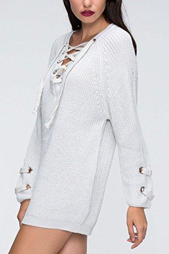 Maglia Donna Elegante Manica Lunga Invernali Maglieria Particolari V Scollo Con Lacci Maglioni Classica Casuale Sciolto Maglione Puro Colore Moda Strappy Bianco
