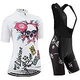 (Cojín 3D)(traje(strap blancas) tamaño:L) ropa para mujer rompevientos los ciclismo corta chaleco sudo de manga transpirable Jerseys maillot Moda rendimiento