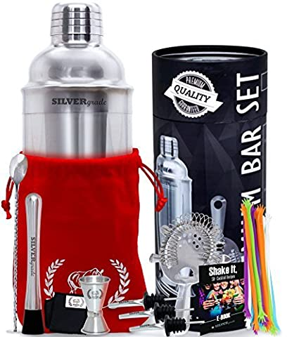 Professional all Inclusive Bartender Kit - Premium Quality- Stainless Steel Construction- Luxury Bag - Cocktail Shaker and all the Accessories you Need - Perfect Addition To Your Home Bar