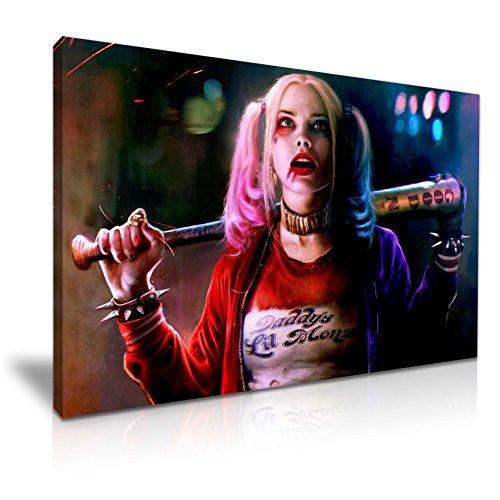 (Kunstdruck auf Leinwand, Motiv: Suicide Squad Harley Quinn mit Baseballschläger, 76 cm x 50 cm)
