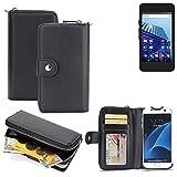 K-S-Trade 2in1 Handyhülle für Archos Access 45 4G hochwertige Schutzhülle & Portemonnee Tasche Handytasche Etui Geldbörse Wallet Case Hülle schwarz