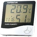 Sainlogic  Weißer digitaler Thermo-& Hygrometer mit großer, gut ab zu lesender Anzeige, zusätzliche Uhr-, Kalender- und Wecker-Funktion