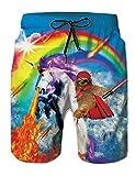 uideazone Costume da Bagno Uomo Spiaggia Unicorno Pantaloncini Nuotare Tronchi Veloce S-XXL
