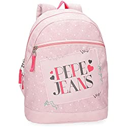 Pepe Jeans Olaia Mochila Tipo Casual, 32 cm, 9.6 litros, Rosa