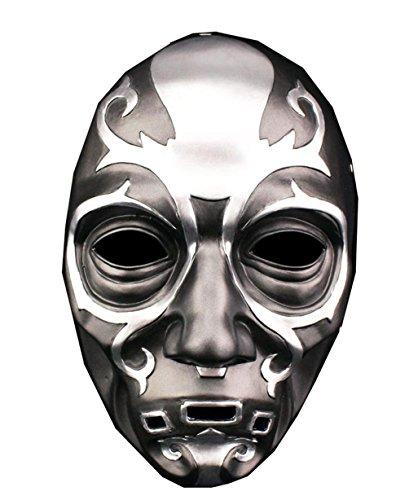 Mesky Halloween Maske Horror Mask Sschwarz aus Harz Unisex Leicht Bequem Atmungsaktiv Verstellbare Kopfgröße Cosplay Kostüm Zubehör Lucius Malfoy Death Eater Modell für Party, Karneval und Fasching