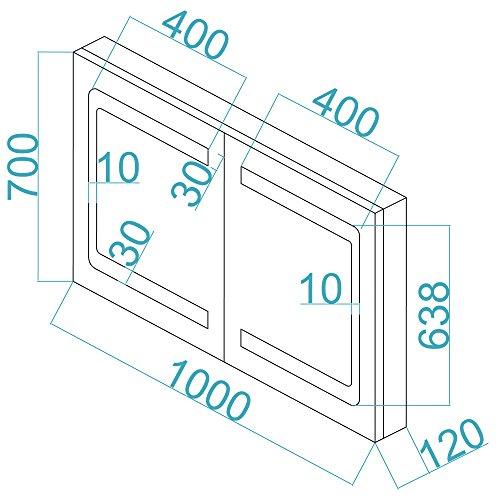 Bad Schrank – Spiegelschrank Aluminium 100 cm - 7