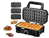Sandwich Maker 3 IN 1 Waffle Maker 1200 W  Piastre Tostapane ,5 Controllo Temperatura Dimensioni Compatte Spie LED Cool Touch Grip, Nero, TIBEK