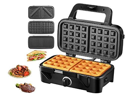 Sandwich Maker 3 IN 1 Waffle Maker 1200 W  Piastre Tostapane ,5 Controllo Temperatura Dimensioni Compatte Spie LED Cool Touch Grip, Nero, TIBEK