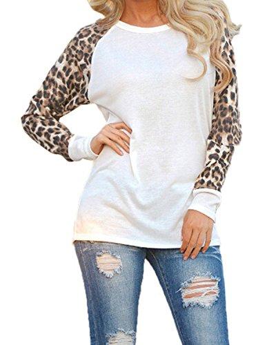 Minetom Damen Herbst Winter Rundhals Langarm T-Shirt Hemd Lose Bequemen Schlafanzug Pulli Lose T-Shirt Bluse Tops Weiß