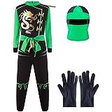 Katara - Disfraz de Ninja Guerreros - Disfraz Infantil para Niños, Costume de Ninja para Carnaval o Halloween, talla S, color verde