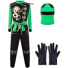Katara - Disfraz de Ninjago Lloyd Garmadon Máscara de Ninja Guerrero, Carnaval/Cumpleaños,  verde, talla M 6-8 años (1771)