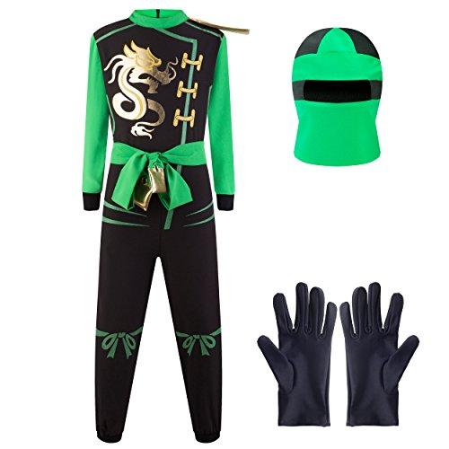 Katara 1771 - Ninja Kostüm Anzug, Kinder, Verkleidung Fasching Karneval, Größe M, Grün Schwarz (Billig Jungen Anzüge Für)