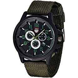 Familizo Outdoor Mens Military Canvas Calendar Watches Green