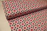 Stoff / Meterware / ab 25cm / Beschichtete Baumwolle Blumen grau, pink auf rosa