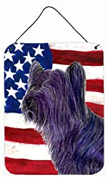 Carolines Treasures Usa American Flag with Skye Terrier Aluminium Metal Wall or Door Hanging Prints, 16 x 12, Multicolor