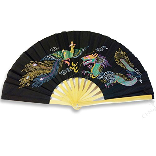 Nature Bamboo Handle Folding Fan Tai Ji Kung Fu Martial Art & Dancing Prop with Beautiful Printed Oriental Pictures on-dragon&phoenix-black by CHN Elements.accessories