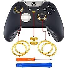 eXtremeRate Thumbstick Tasten Accent Rings Thumb Stick Kreisring Zubehör mit Hebelwerkzeug und Schraubenzieher für MicrosoftXbox One Elite Controller(Gold)