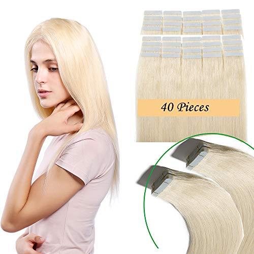 Extension capelli veri biadesivo 40 fasce 100g tape extension adesive 40cm 100% remy human hair 2.5g/fascia (#60 biondo platino 16