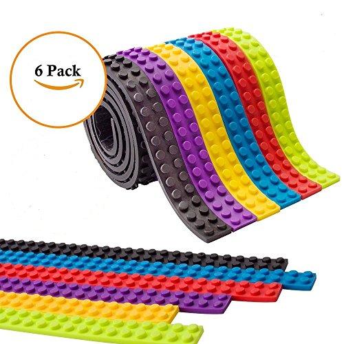 mciskin cinta de bloque de construcción,Compatible con Juguetes de Construcción de Lego Y La cinta viene en rollos compatibles con todas las principales marcas de juguetes de construcción de bloques(6 rolls)
