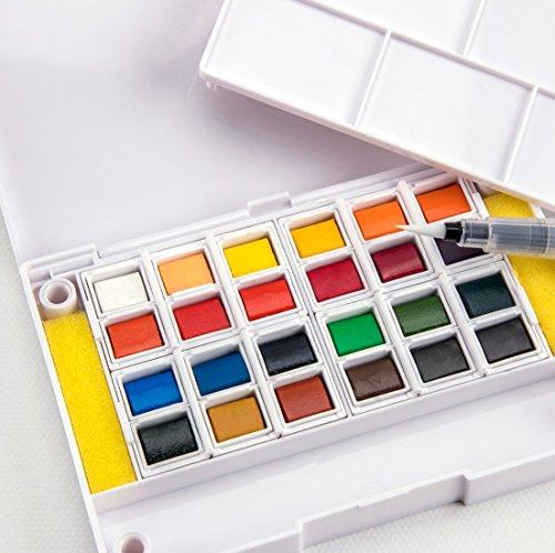 Aquarellfarben Set, kompakte Box mit 24 Wasserfarben, Palette, nachfüllbarem Wasser Pinsel Stift,...