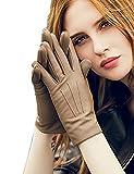 YISEVEN Damen Leder Handschuhe Touch Screen Handschuhe mit Fleecefutter echtes Schaffell Leder gefüttert warm für Winter
