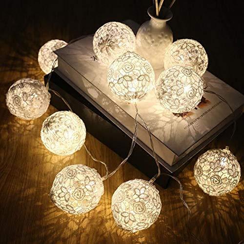 W&z light string indoor lace lights decorazione lampade illuminations per christmas room birthday wedding party usb alimentato,white,3m20bulbs