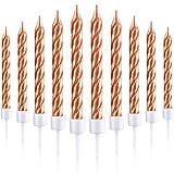 Blulu 50 Stück Kuchen Kerzen in Halterungen Metallisch Kuchen Cupcake Kerzen Kurze Dünne Kuchen Kerzen für Geburtstag Hochzeit Party Kuchen Dekorationen (Rose Gold)