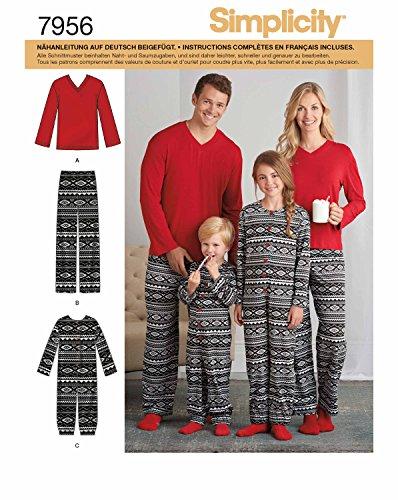 Simplicity 7956.A Schnittmuster Pyjama (Unisex, Gr. XS - XL) (Herren-pyjama Stricken)